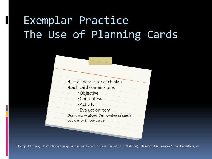 Exemplar Practice