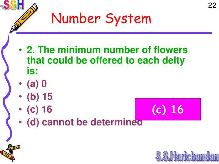 2. The minimum number of flowers that could be offered to each deity is: