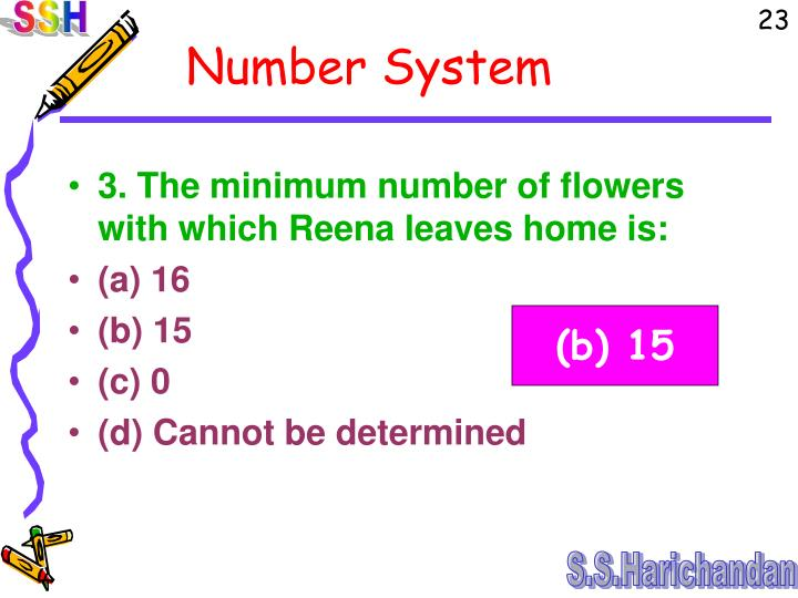 3. The minimum number of flowers with which Reena leaves home is: