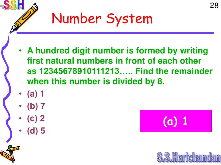 A hundred digit number is formed by writing first natural numbers in front of each other as 12345678910111213….. Find the remainder when this number is divided by 8.