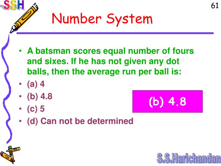 A batsman scores equal number of fours and sixes. If he has not given any dot balls, then the average run per ball is: