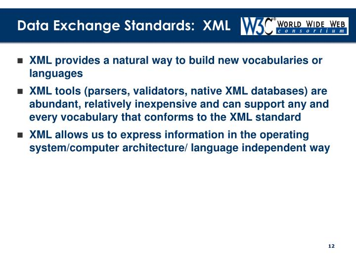 Data Exchange Standards:  XML