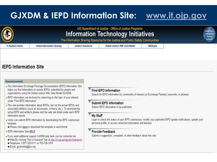 GJXDM & IEPD Information Site:
