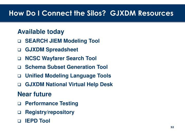 How Do I Connect the Silos?  GJXDM Resources