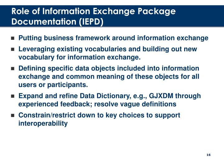 Role of Information Exchange Package Documentation (IEPD)