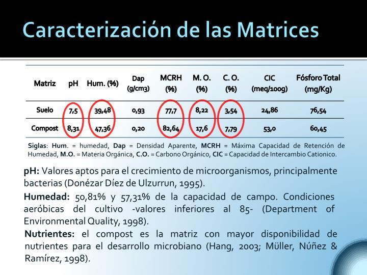 Caracterización de las Matrices