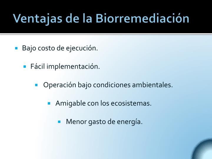 Ventajas de la Biorremediación