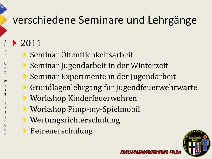 verschiedene Seminare und Lehrgänge