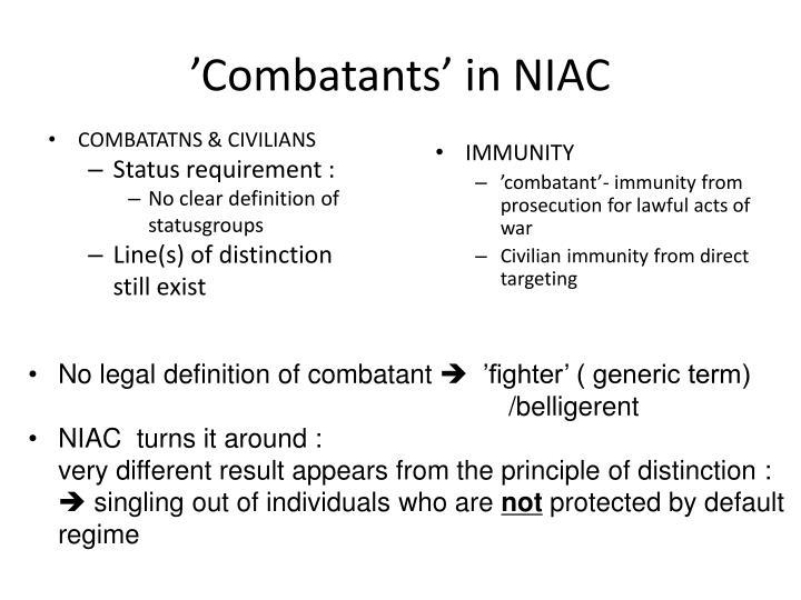 'Combatants' in NIAC