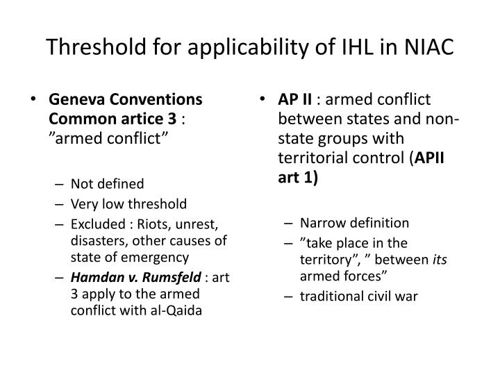 Threshold for applicability of IHL in NIAC