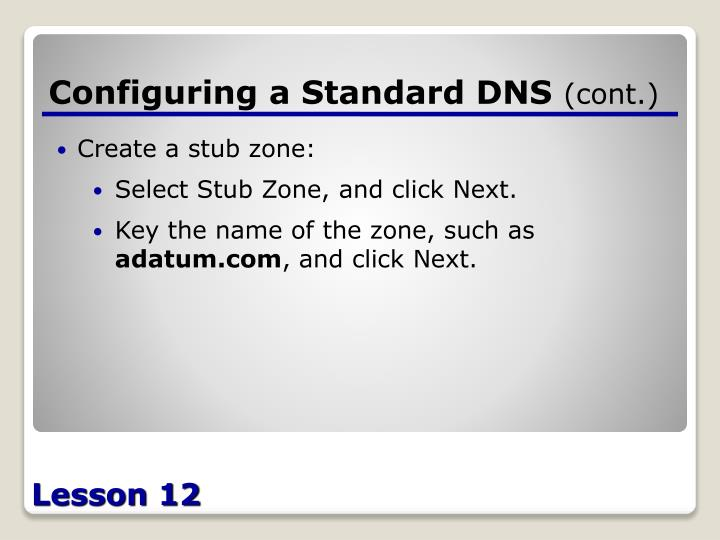 Configuring a Standard DNS
