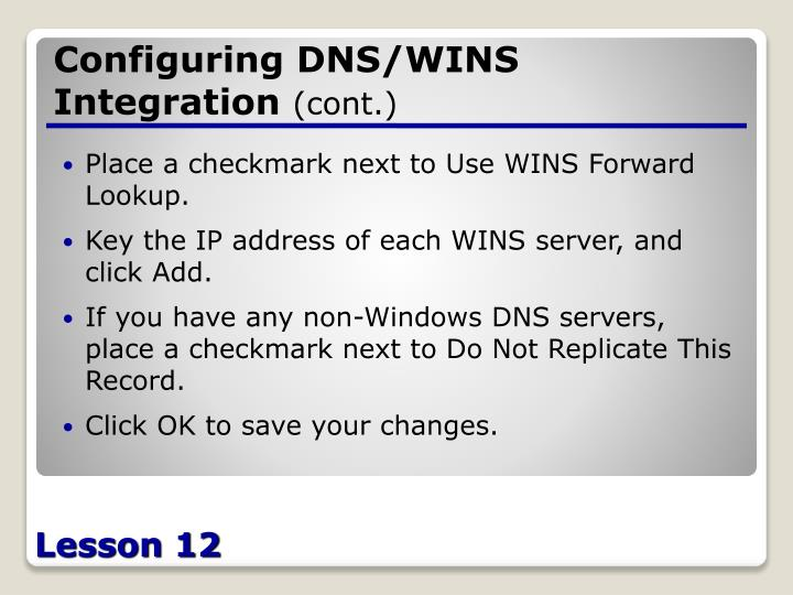 Configuring DNS/WINS Integration