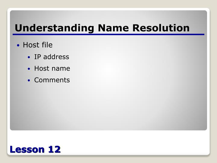 Understanding Name Resolution