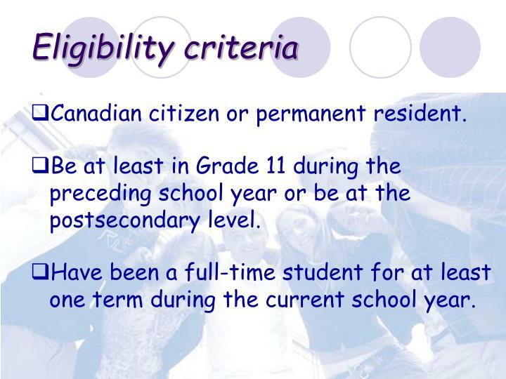 Eligibility criteria