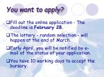 you want to apply