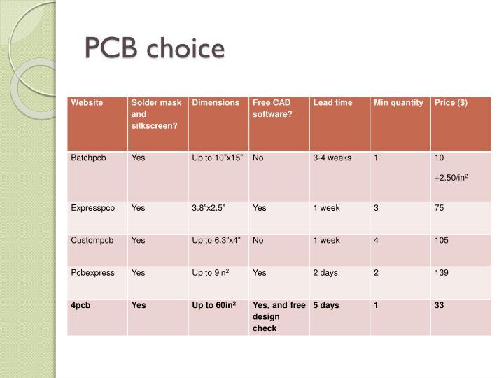 PCB choice