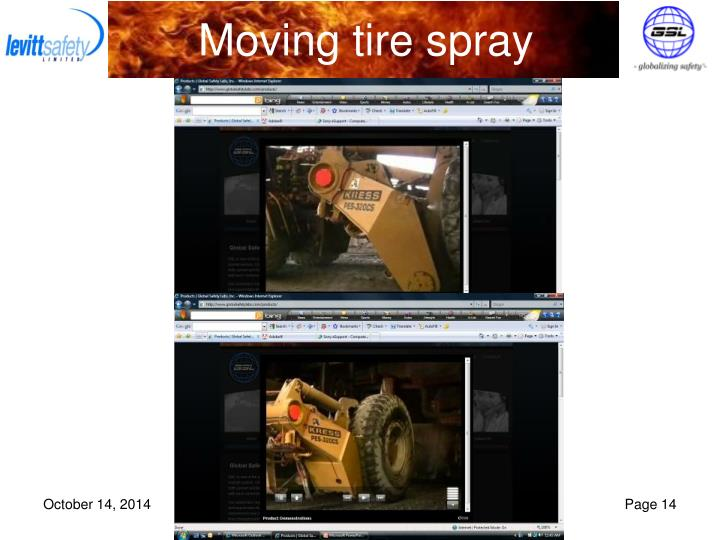 Moving tire spray