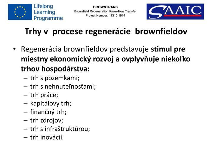 Trhy v  procese regenerácie  brownfieldov