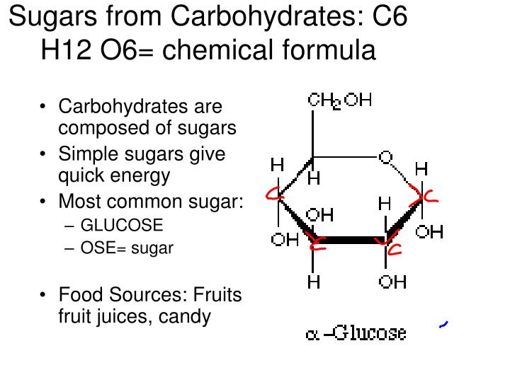 Sugars from Carbohydrates: C6 H12 O6= chemical formula