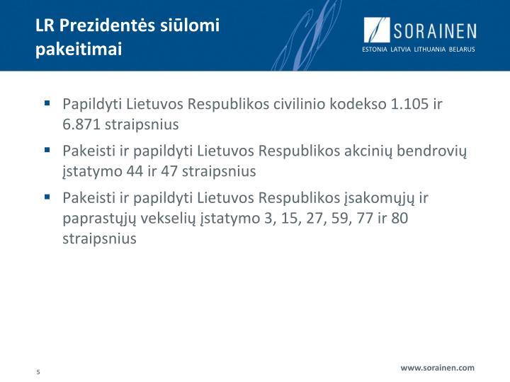 LR Prezidentės siūlomi pakeitimai