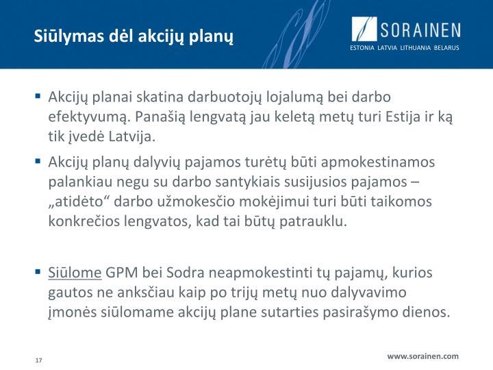 Siūlymas dėl akcijų planų