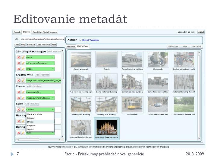 Editovanie metadát