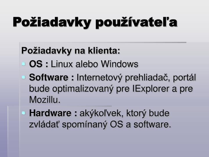 Požiadavky používateľa