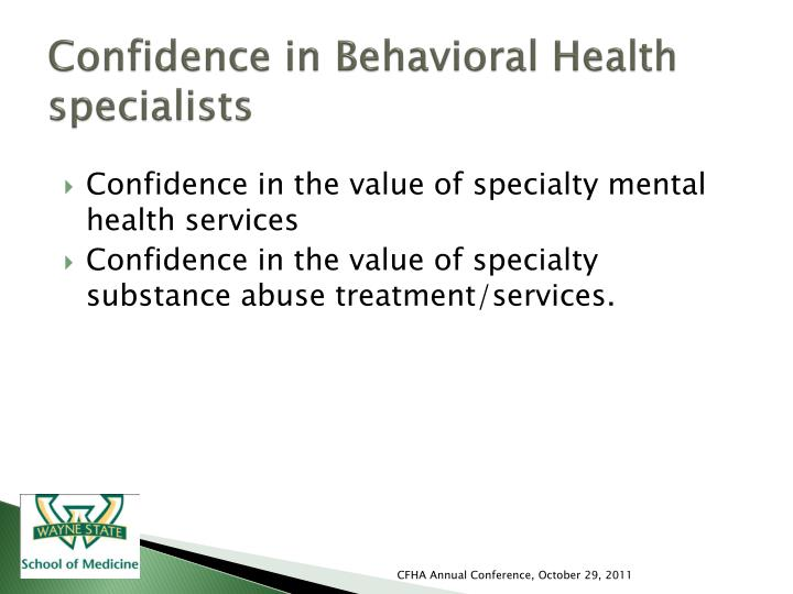 Confidence in Behavioral Health specialists