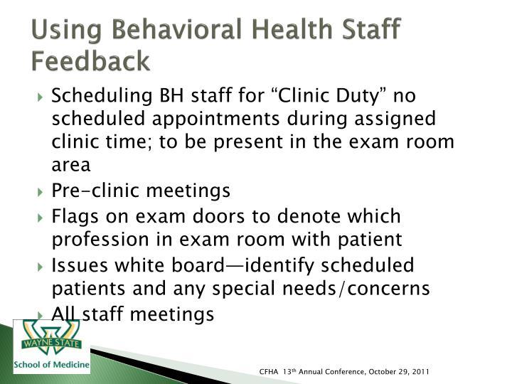 Using Behavioral Health Staff Feedback