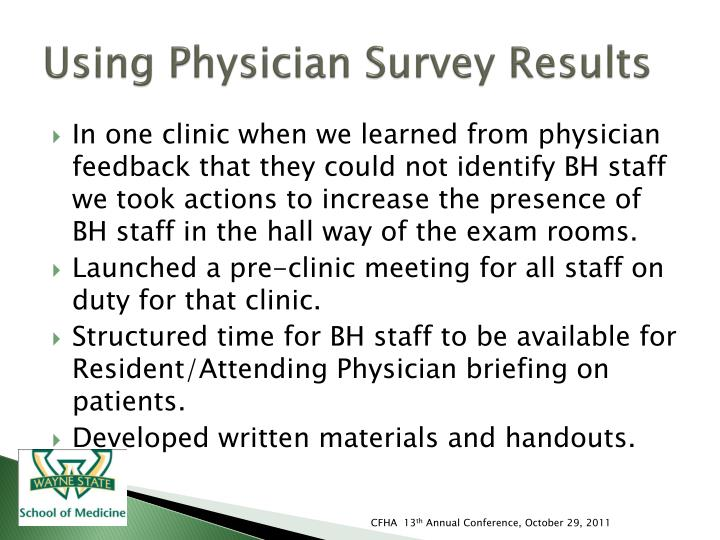Using Physician Survey Results