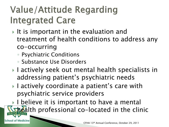 Value/Attitude Regarding Integrated Care