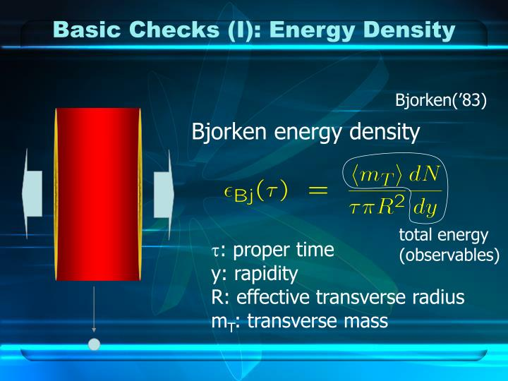 Basic Checks (I): Energy Density