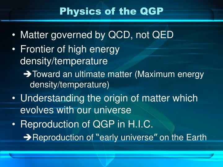 Physics of the QGP