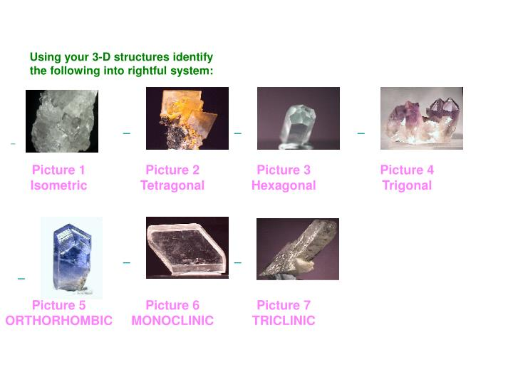 Using your 3-D structures identify the following into rightful system: