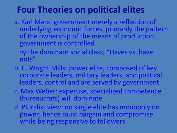 Four Theories on political elites