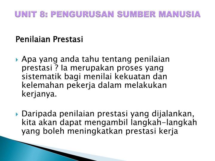 UNIT 8: PENGURUSAN SUMBER MANUSIA