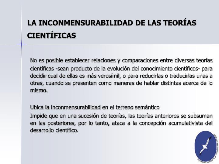 LA INCONMENSURABILIDAD DE LAS TEORÍAS CIENTÍFICAS