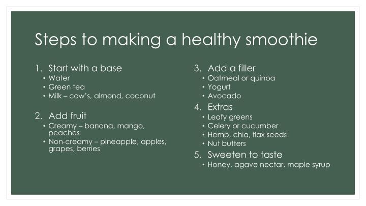 Steps to making a healthy smoothie