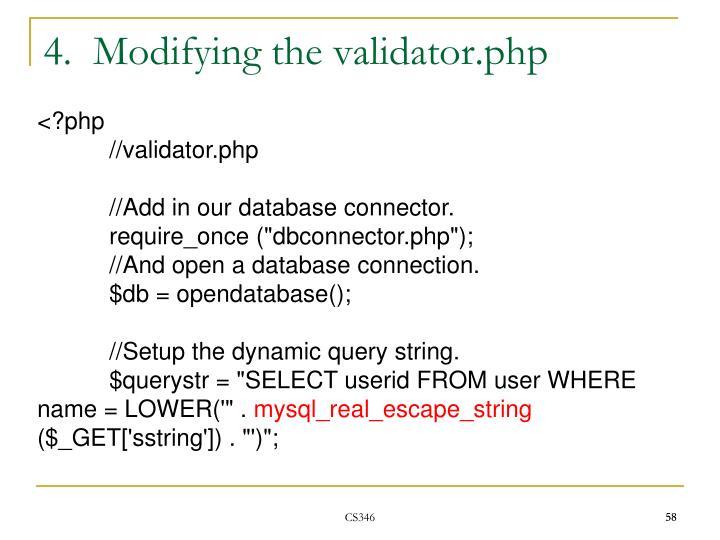 4.  Modifying the validator.php