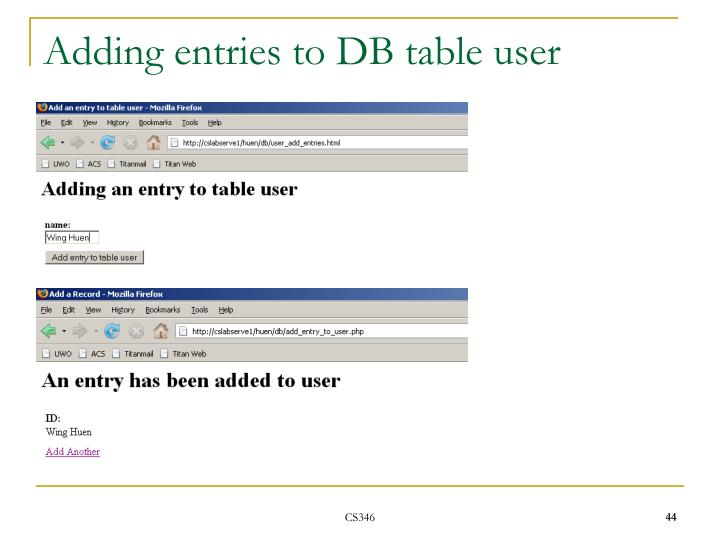 Adding entries to DB table user