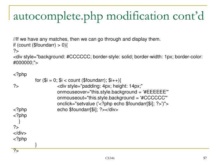 autocomplete.php modification cont'd