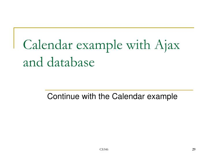 Calendar example with Ajax and database