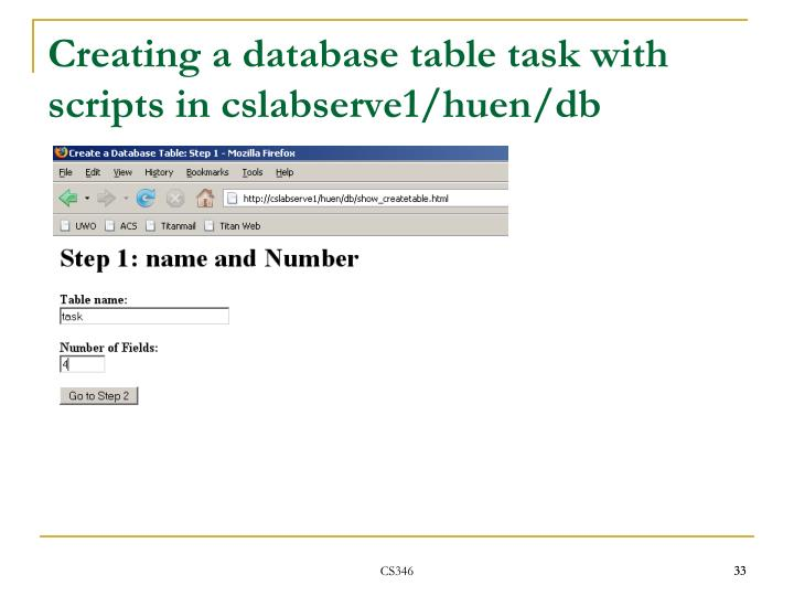 Creating a database table task with scripts in cslabserve1/huen/db
