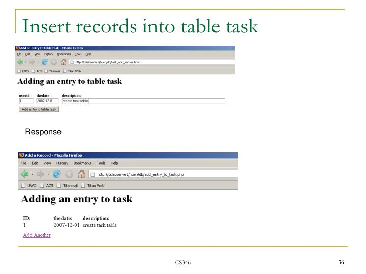 Insert records into table task