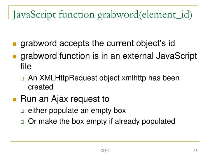 JavaScript function grabword(element_id)