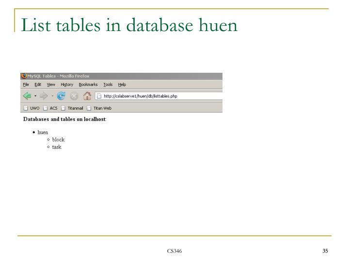 List tables in database huen