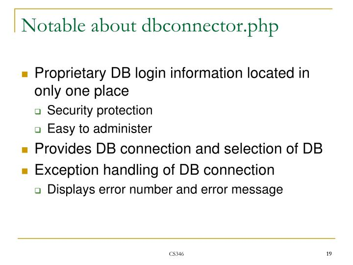 Notable about dbconnector.php