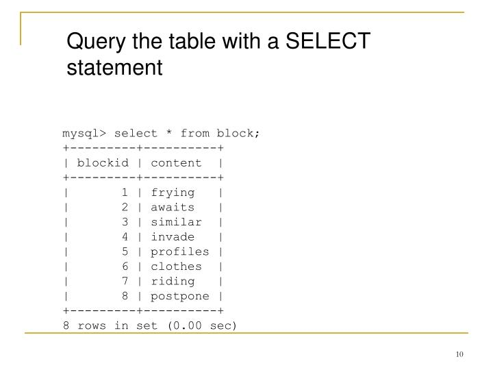 Query the table with a SELECT statement