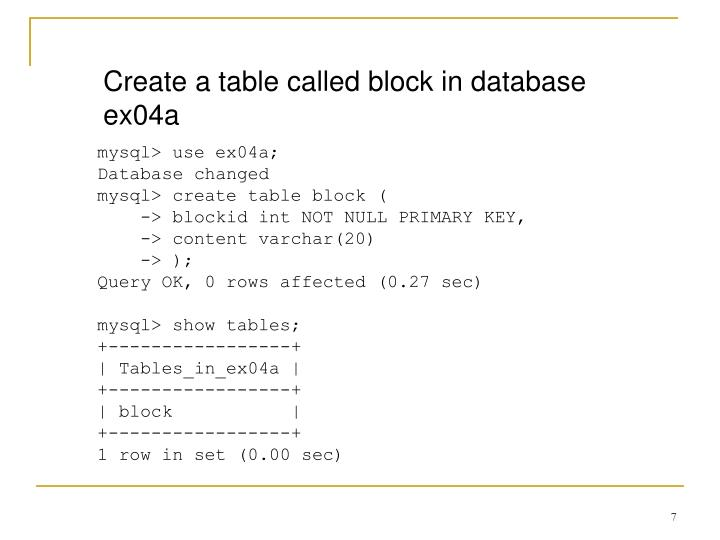 Create a table called block in database ex04a