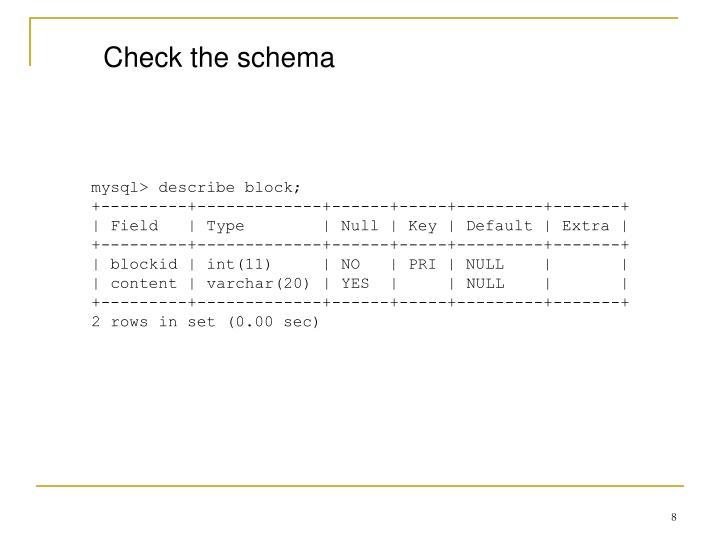 Check the schema